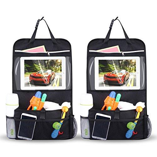 INTEY-2Pcs-Sedile-Auto-Organiser-Organiser-per-Auto-Organizzatore-per-sedile-dauto-Multi-tasca-Stoccaggio-di-Viaggio-con-Supporto-Touch-Screen-iPad