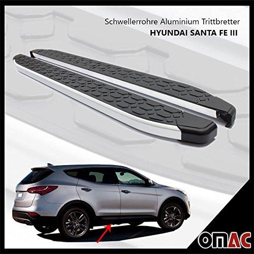 OMAC Schwellerrohre Aluminium Trittbretter Hyundai Santa Fe III 2013> Blackline 173