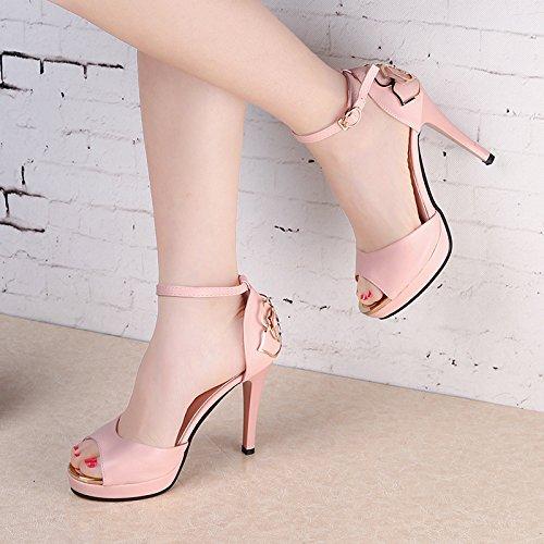 Die neuen weißen Blüten seitlichen Luft Sandalen High Heels Schuhe fein mit Höhe mit Fischkopf Frauen Schuhe Pink