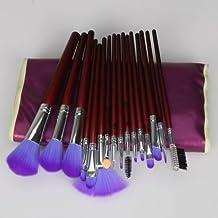16 brochas de maquillaje profesional con bolsa de color morado