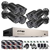 ZOSI 8CH 720P HD Video Überwachungskamera System ohne Festplatte 4-in-1 1080N HDMI DVR Recorder mit 8 Outdoor 1.0MP 720P CCTV Haus Sicherheit Kamera Set, 20M Nachtsicht, P2P Schnellzugriff