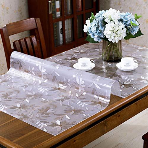 Danggl tovaglia trasparente,pvc anti-scottatura in plastica morbida tavolo in vetro opaco tavolo da tè rettangolare custodia protettiva quadrata (colore : 1.5mm, dimensioni : 80cm*135cm)