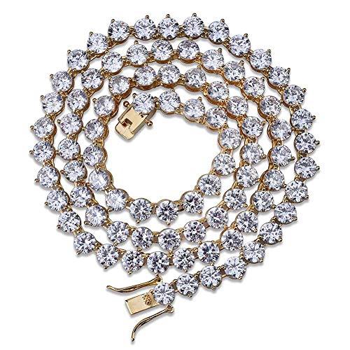 WJMSS Hip Hop Schmuck 3 Gabel Tennis Kette Micro Intarsien Zirkon Halskette Einreihig 4 Mm-6 Mm Modeaccessoires Geschenke für Männer,Gold,4mm22inches -