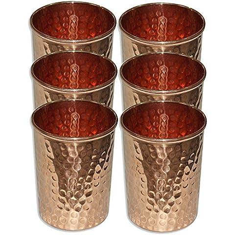 Set di 6 - Prisha India Craft ® rame Acqua Bicchiere Tumbler - fatti a mano bicchieri di acqua - per il viaggiatore tazza di rame per l'Ayurveda benefici - Natale articolo regalo - Bicchiere Viaggiatore