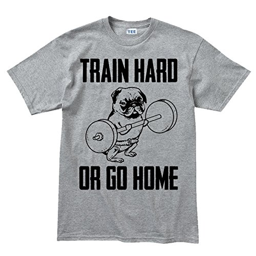 Train Hard Pug Fitness Sports Running T shirt - Running Shirt Gry