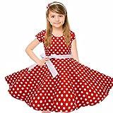 HBBMagic Kurzarm Rockabilly 50er Vintage Retro Kleid mädchen Baumwolle Kleid Polka Dots Faltenrock mit Halskette Zubehör Geschenke für Kinder