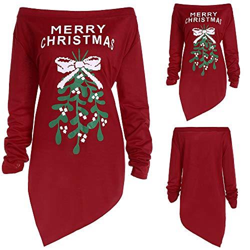 Beginfu Frauen Weihnachten Kleide Print Brief Kleid Damen Unregelmäßige Lange Ärmel...