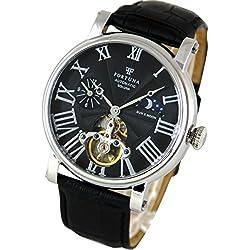 [Fortuna] Automatik mechanische Uhr / Sonne und Mond mit italienisches Leder armband Uhren für Männer