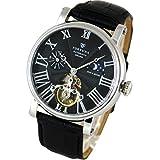 [Fortuna] Automatik mechanische Uhr/Sonne und Mond mit italienisches Leder Armband Uhren für Männer