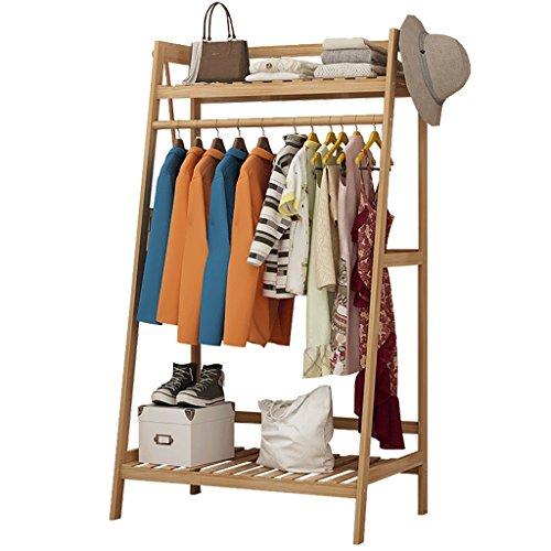 ZXYMJ Kleiderhaken Bambus Garderobenständer Kleiderständer Schuhablage Kleiderstange Rollen Kleiderstang Nivellierfüße (größe : 100cm)