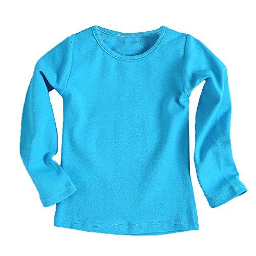 Kinderkleid Honestyi Baby Nette Jungen Mädchen runder Kragen Lange Hülsen Oberseiten Süßigkeits Clour Familien Kleidung (Blau,90)
