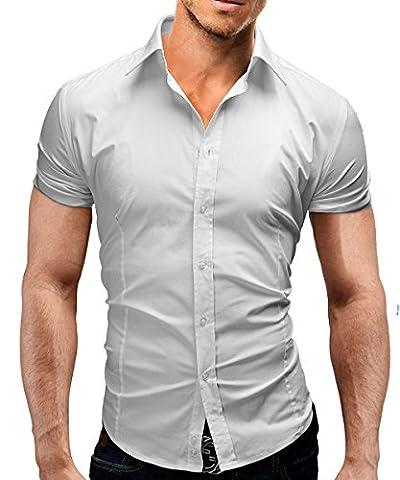 Merish Kurzarm Herren Hemd Slim Fit 13 Farben Größen S-XXL