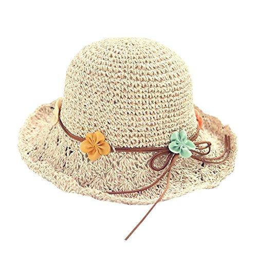 Süßer und Netter Strohhut des Sommers - einfache Blumen Sonnenhut zusammenklappbarer Visier Hutmode Strandhut (Farbe : Beige)