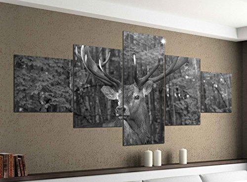 Leinwandbild 5 tlg. 200cmx100cm Hirsch Geweih wild Wald Tier schwarz weiß Bilder Druck auf Leinwand Bild Kunstdruck mehrteilig Holz 9YA1889, 5Tlg 200x100cm:5Tlg 200x100cm