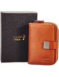 ZAPP - Etui porte-clés multifonctions de marque ZAPP en cuir véritable 6 crochets à clés (couleur : marron) et avec 6 poches internes porte monnaie et carte bancaire