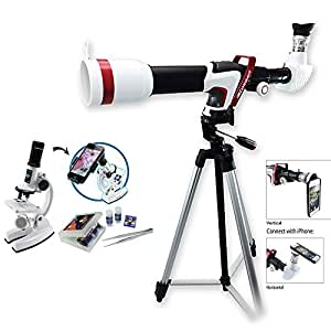 Limited Edition Set of Branded 375 Power 50mm Wide Angle HD Sport Telescope Smartphone Connectivity + Microscope Set 100X/450X/900X w/ Smart Phone Connectivity