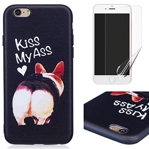 Oyime cover per iphone 6s/iphone 6 silicone morbida [cane con frasi divertenti] disegni in rilievo vivace colorato creative nero custodia originale resistente case e pellicola protettiva