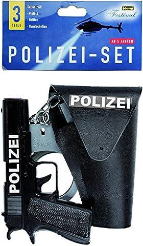 Idena 8040007 - Polizei- Set, 3-teilig: Pistole, Halfter und Handschellen