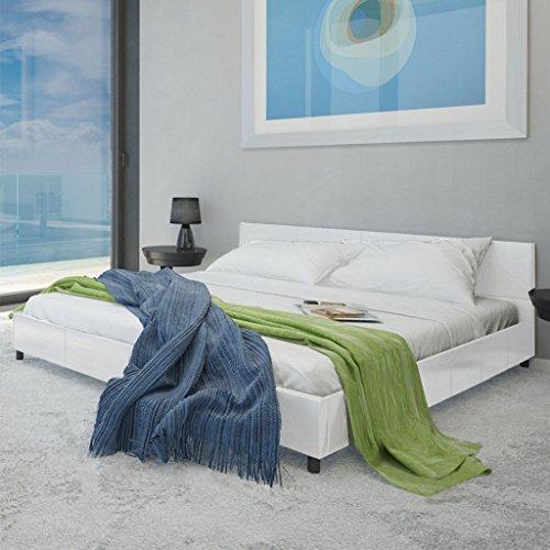 Anself Polsterbett Doppelbett Bett Ehebett Gästebett aus Kunstleder 140x200cm ohne Matratze Weiß
