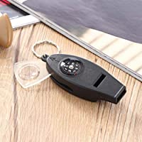 Portable Size Black 4in1 Mini Survival Tool Thermometer Whistle Compass free shipping