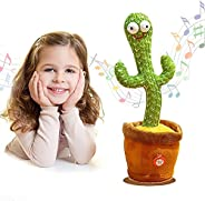 Singing Plush Cactus Toy, Dancing Cactus with Light, Cactus Repeat What You Say, Recording Electronic Plush To
