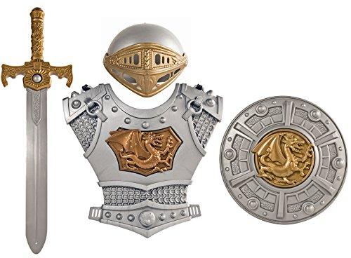 er Ritter-Helm 4 Teile Ritter-Schwert Brustpanzer Schild Ritter-Kostüm (Ritter Schild Kostüm)
