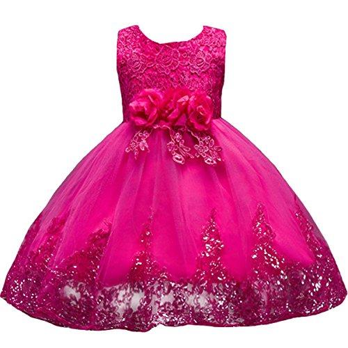 Mädchen Kinder Mit Kleider Blumenmädchenkleider Hochzeitskleid Brautjungfern Kleid Prinzessin Hochzeit Abendkleid Geburtstag Kurzes Kleid Festzug Cocktailkleid Ballkleid Rose Rot 5-6 Jahre