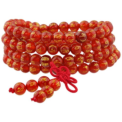 Shanxing Cornaline Bracelet Chakra Bouddhiste Collier Mala 108 Perles en Pierre Tibétain Bouddha pour Homme Femme