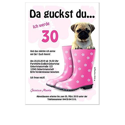 Geburtstagseinladungen runder Geburtstag lustig 50 60 70, für jedes Jahr möglich, 30 Karten - 17 x 12 cm