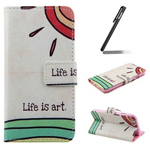 Ukayfe Custodia portafoglio / wallet / libro in pelle per Apple iphone 4/4S - Retro Fiore Modello Design Con Cinturino da Polso Magnetico Snap-on Book style Internamente Silicone TPU Custodie Case in life is art