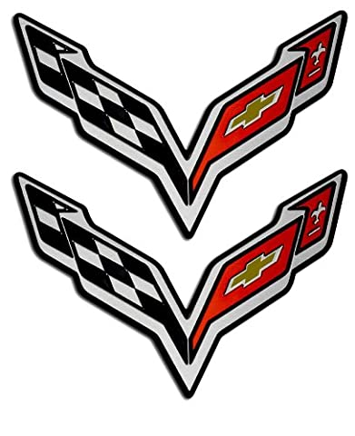2x (pair/set) Victory Wing Stingray Crossed Flags Fender Emblem Badge Nameplate for Chevrolet Corvette C7 14 2014 (Universal Fitment)