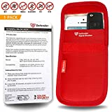 Defender Signal Blocking Pouch RFID - Phone Case Signal Blocking Device - Car Key Signal Blocker Pouch Security Case - RFID Blocker - Signal Blocking Wallet For Car Keys Mobile Phone Cards - Ultimate Personal Theft Protection - Red 1 x Pack