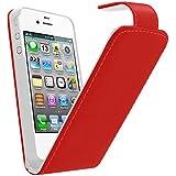 Samrick Leder Flip Schutzhülle mit Schirm Schutz, Microfasertuch und Mini Aluminium Kugelschreiber für Apple iPhone 4/4G/4S rot