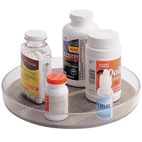 Bac de rangement rotatif, mDesign Lazy Susan, pour médicaments et autres produits de santé, vitamines, compléments alimentaires - Métallique / Transparent