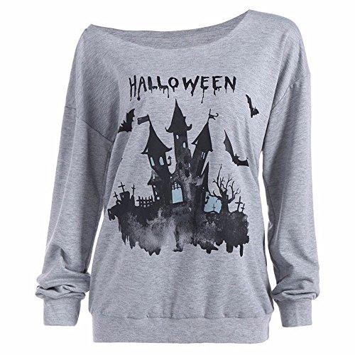 (TEELONG Damen Freizeit Halloween Kürbis Haunted Haus Sweatshirt Pullover Tops Bluse Shirt Shirts Business Langarmshirts Kapuzenpullover Pullover Westen Sets Bluse Tunika(M, Grau))
