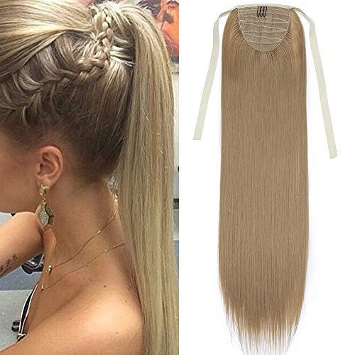 """TESS Ponytail Extension Haarteil Pferdeschwanz Clip in Zopf Haarteil günstig Haarverlängerung Mittelblond Glatt 22""""(55cm)-90g"""