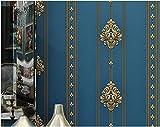 Yosot Rayures Vintage Papier Peint Intissé Chambre Salon Plat Fond Papier Peint Bleu