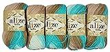 5 x 50 Gramm Baumwolle mehrfarbig mit Farbverlauf, 250 Gramm Wolle aus 100% Baumwolle, Strickwolle (beige mint weiß 3675)