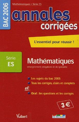 Mathématiques Enseignement obligatoire et de spécialité Bac Série ES