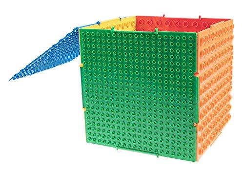 Strictly Briks - THE CUBE - Set de bases para construir y caja para guardar piezas - 6 bases de doble cara (tacos grandes y pequeños) interconectadas - Compatible con todas las grandes marcas - Pendiente de ser patentado - 16,51 x 16,51 x 16,51 cm - Multicolor