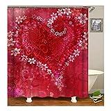 AnazoZ Duschvorhang Anti-Schimmel, Wasserdicht Vorhänge an Badewanne Antibakteriell, Bad Vorhang für Dusche 3D Blume Herz, 100% PEVA, inkl. 12 Duschvorhangringen 150 x 200 cm