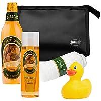 BRUBAKER Beer Bath Set Giftset for Men Showergel, Bath Foam, Sponge Bag, Towel and Rubberduck