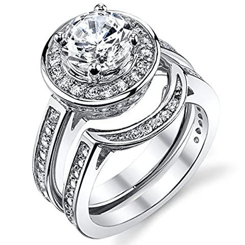 Ultimate Metals Co. 1.5 Carat Round CZ Sterling Silver Wedding Engagement Ring Bridal set With Cubic Zirconia Size