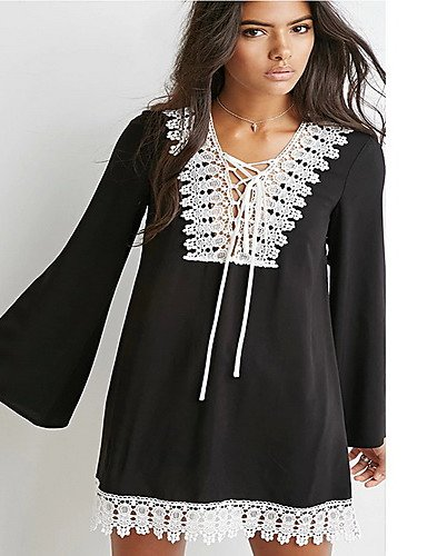 PU&PU Robe Aux femmes Ample Street Chic,Mosaïque Col en V Mini Polyester BLACK-S