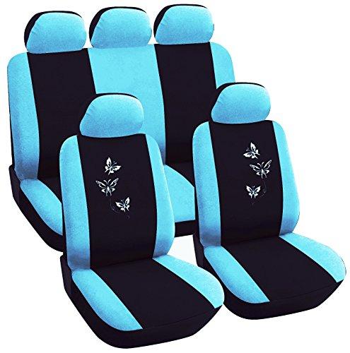 WOLTU AS7244 Auto Sitzbezug , Komplettset , PET , Schonsitz Bezug Set , universal passend , Sitzschutz , Stickerei Butterfly , Super Design , Schwarz/Blau , NEU & OVP