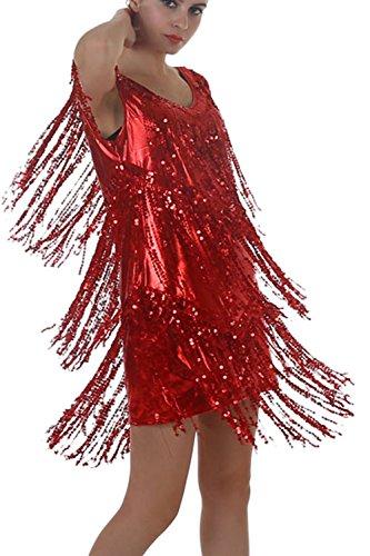 Frauen Sexy Pailletten Troddel Mini Etuikleid Red ...