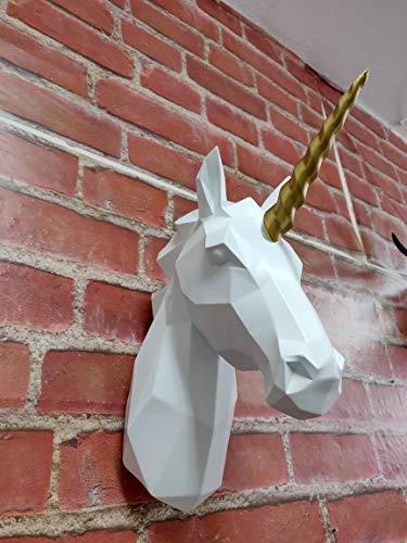 Walplus Zeitgenössisch Künstlich Taxidermie Kopf für Wand Dekor Tier Replik Dekorative Halterung Kunst Skulptur Geschenk Weiß Einhorn Horn Wand Aufhänger