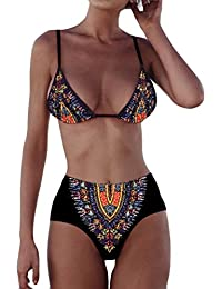 647370d2965f2 Longra Las mujeres africanas de la impresión Push-Up acolchada Bra Beach  Bikini Set Swimsuit Swimwear 2 piezas…