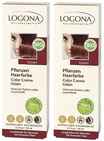 Logona Color Creme tizian Henna Haarfarbe Pflanzenhaarfarbe im Doppelpack 2 x 150 ml