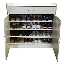 Redstone Black White or Beech Shoe Storage Cabinet Rack Cupboard - 4 Shelves + 1 Drawer - Wooden Sideboard (White)